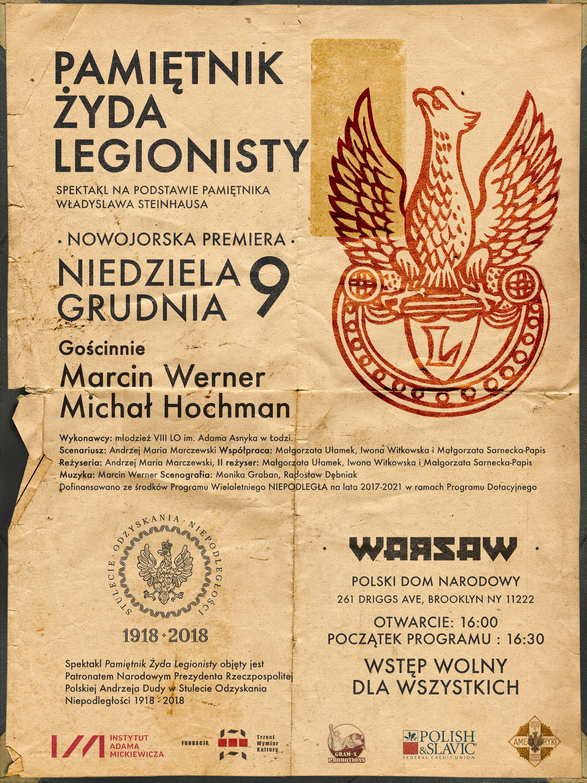 """'Pamiętnik Żyda Legionisty"""" – Premiera Spektaklu w Brooklynie"""